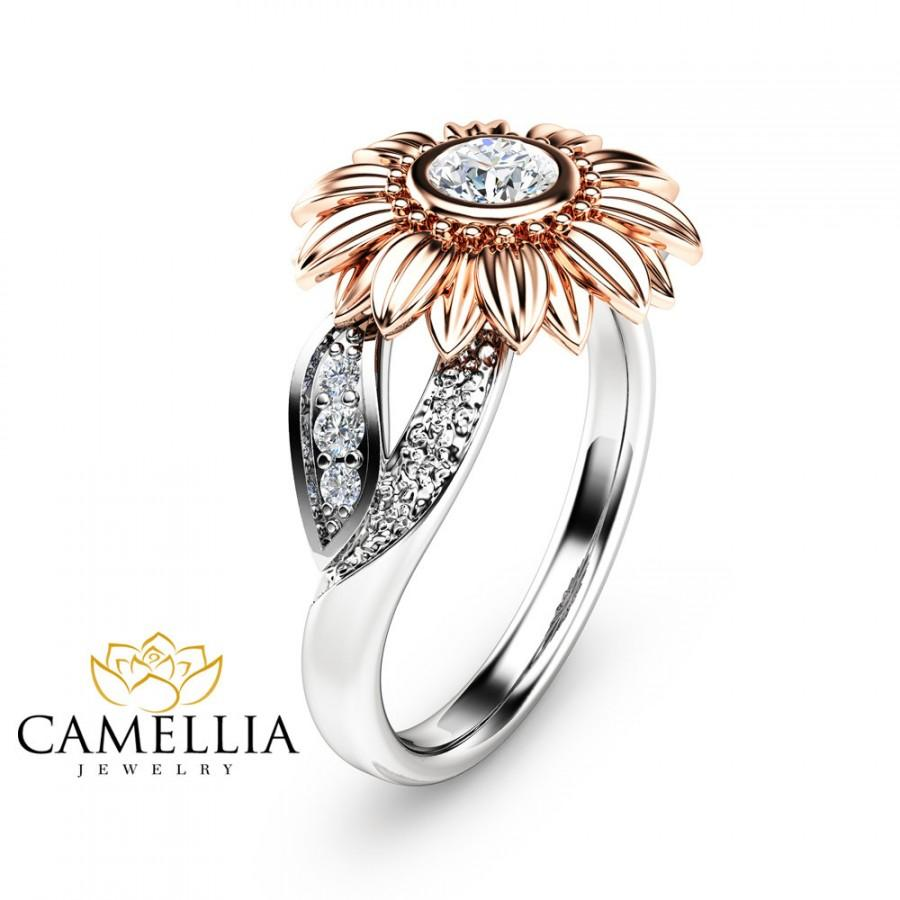 Mariage - Two Tone Gold Flower Engagement Ring Natural Diamond Ring Unique Engagement Ring Diamond Flower Ring