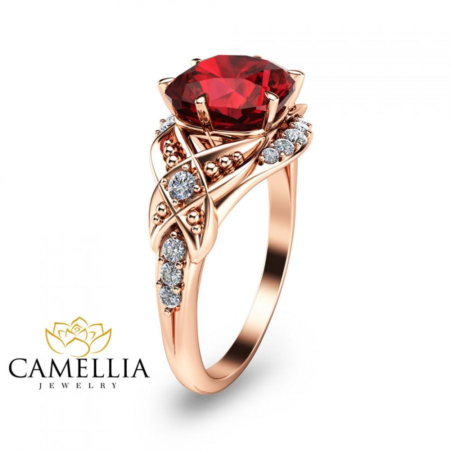 Cushion Cut Ruby Engagement Ring14K Rose Gold Ruby Engagement