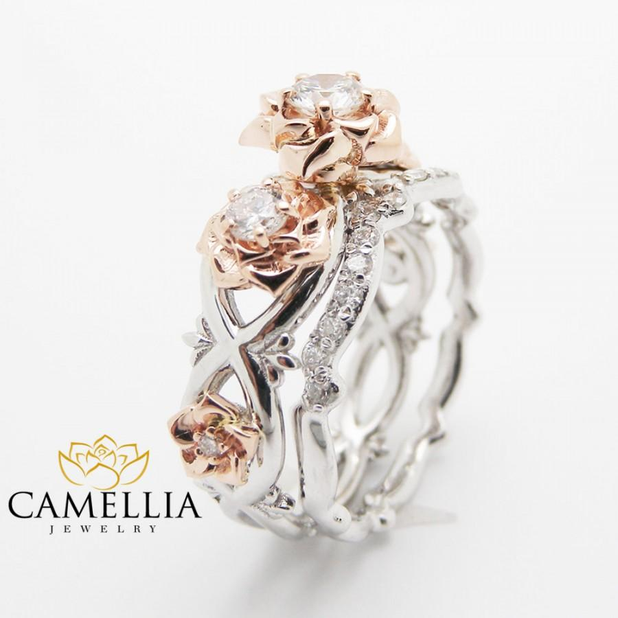 handmade ring cut tone rings gold matching princess camellia band com dp set amazon engagement floral moissanite with