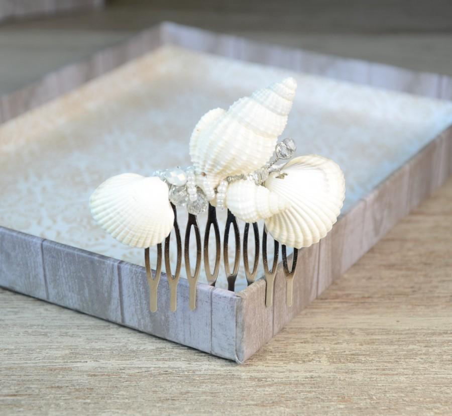 Свадьба - Mermaid Hair comb Beach Wedding Hair Accessories Beach Hair Comb Sea Shell Hair Comb Seashells Hair Comb Crystal Hair Comb Seashell Hair pin