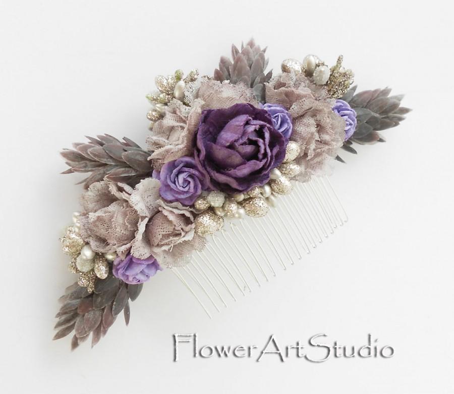 Свадьба - Shabby Chic Flower Comb, Cottage Shic Purple Bridal Headpiece, Romantic Bridal Comb, Purple Bridal Hair Flower, Rustic Style Hair Comb.