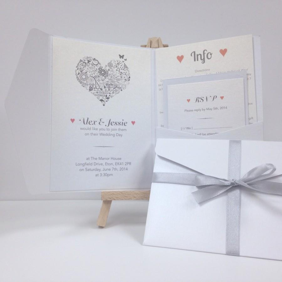 Mariage - Pink grey floral swirl heart pearlescent pocket fold wedding invitation pack