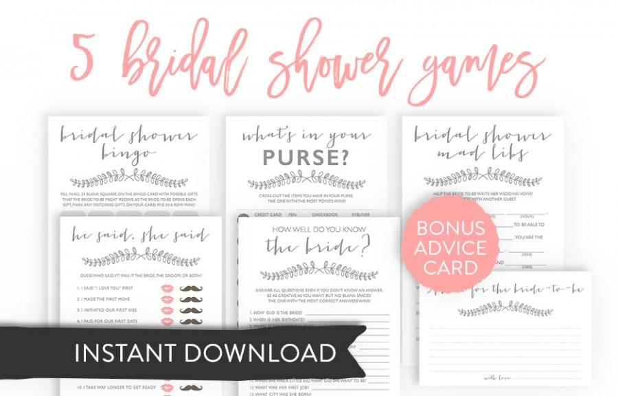 instant download bundle printable bridal shower games he said she said wedding vows mad libs bingo purse raid gray laurel carnation e03