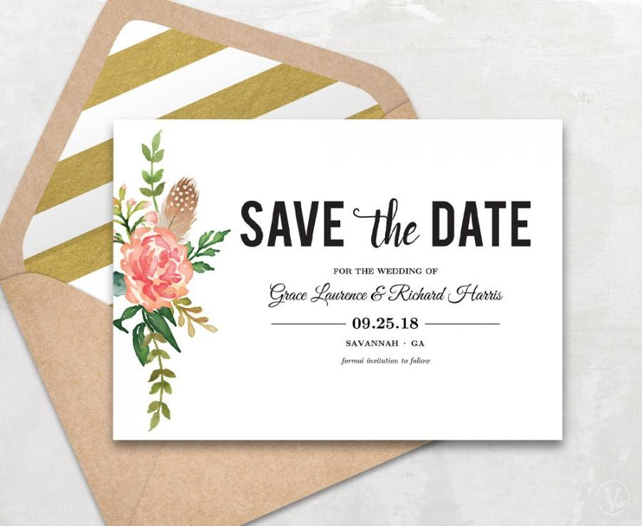 Save The Date Template, Floral Save The Date Card, Boho Save The