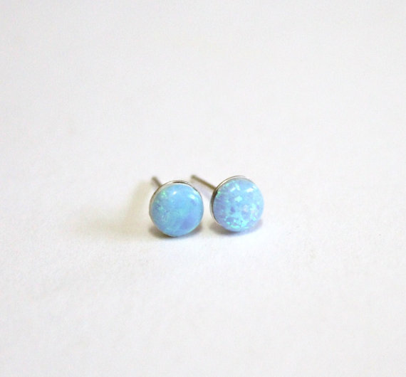 Hochzeit - Opal Stud earrings, Sterling silver stud earrings, Post earrings with opal stone, Bridesmaid earrings, Everyday earrings,Christmas gift,Gift