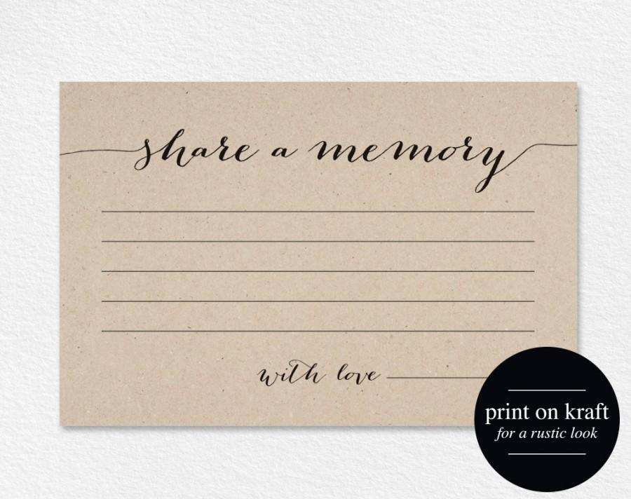Mariage - Share a Memory Card, Memory Cards, Share a Memory Printable, Memorial Card, Keepsake, Funeral Memory Card, PDF Instant Download,