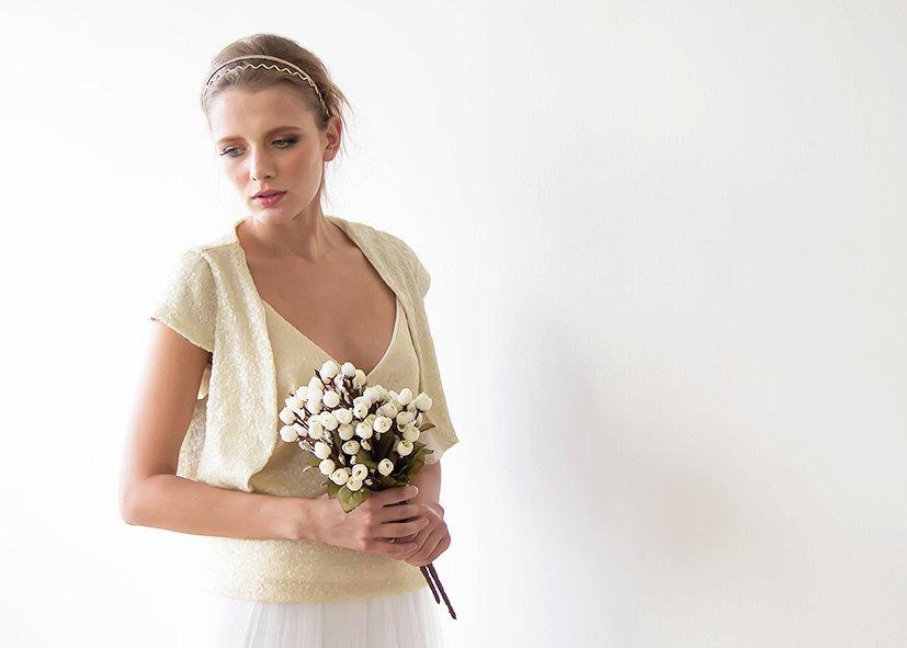 زفاف - Sequin bridal open bolero, Sparkling bridal top, Short sleeves sequin shrug