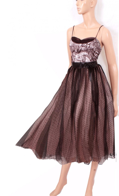 زفاف - Tea length   Little Black Satin Lace/ Satin / tulle  Dress