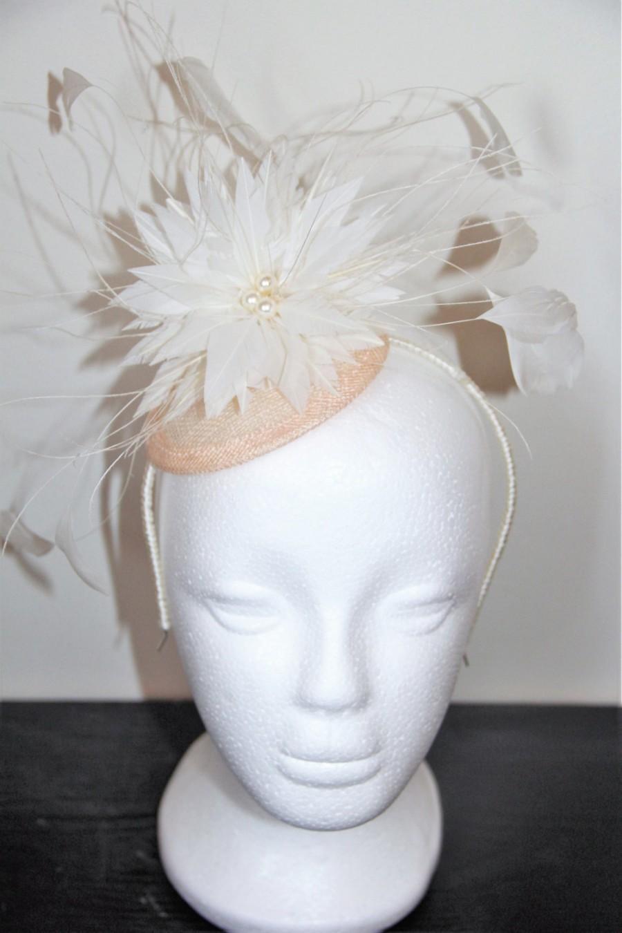Ivory And Pink Flower Bridal Fascinator Wedding Fascinator Feather