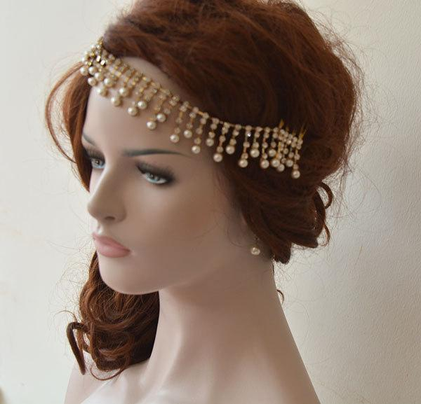 زفاف - Wedding Hair Accessory, Gold Rhinestone Headband, Bridal Hair Accessory, Bridal Headband, Bridal Headbands, Bridal Hair Accessory