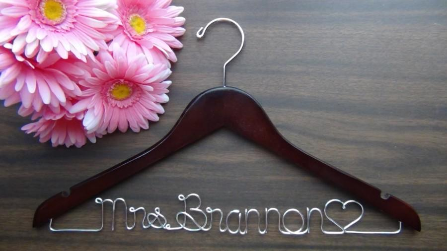 Mariage - BRIDAL WEDDING HANGERS Custom Made with Names, Personalized Keepsake Hanger, Bridal Shower Gift Idea, Wedding Photo Props
