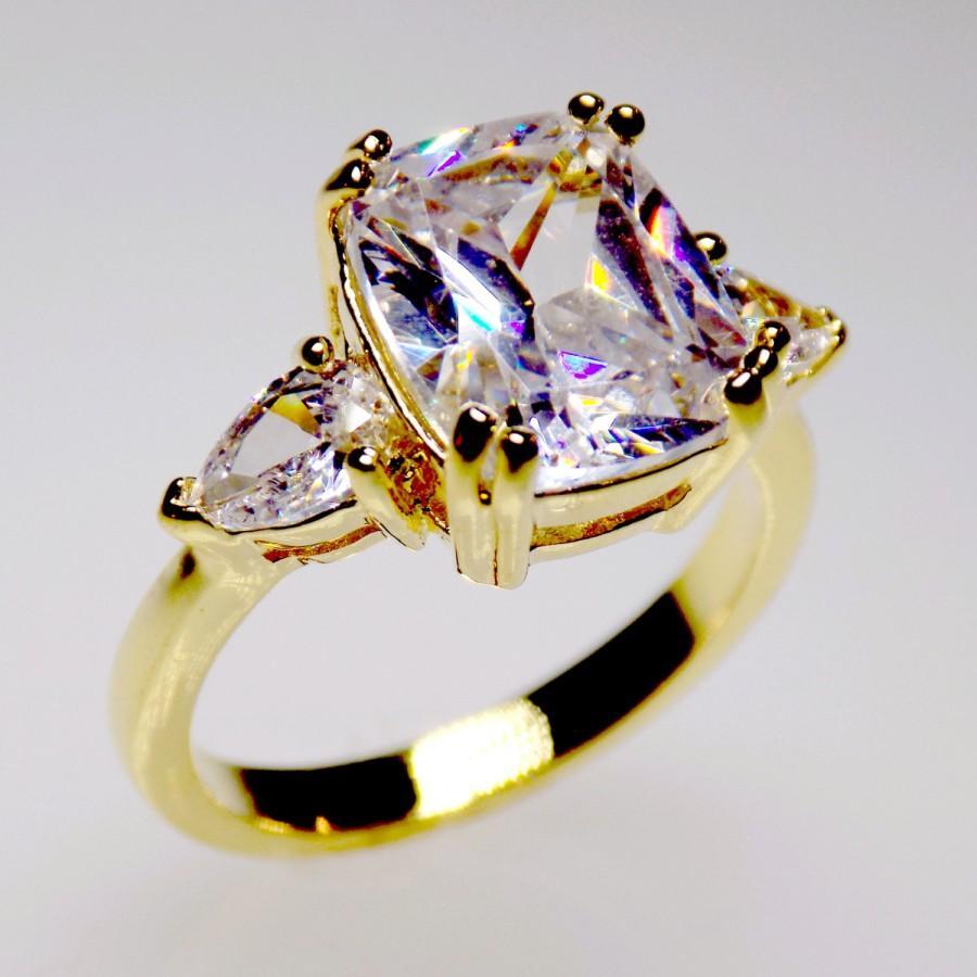 Mariage - engagement ring, wedding ring, cz ring, cubic zirconia engagement ring, 3 stone ring, anniversary ring size 5 6 7 8 9 10 - MC108175G1AZ