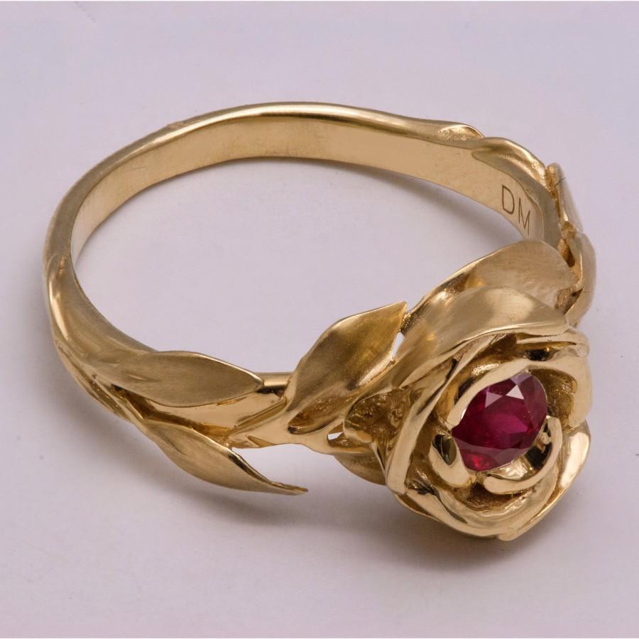 Mariage - Rose Engagement Ring No.1 - 14K Gold and Ruby engagement ring, engagement ring, leaf ring, flower ring, antique, art nouveau, vintage
