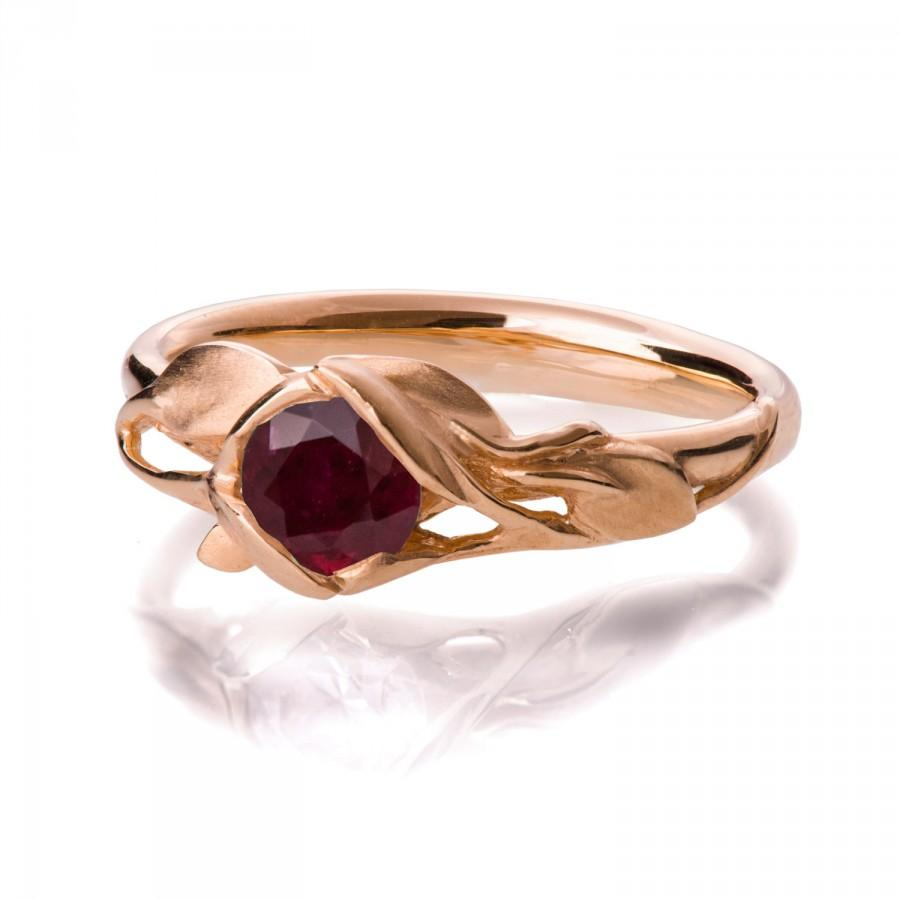 Mariage - Leaves Engagement Ring - 18K Rose Gold and Ruby engagement ring, engagement ring, leaf ring, filigree, antique, July Birthstone, recycled, 6