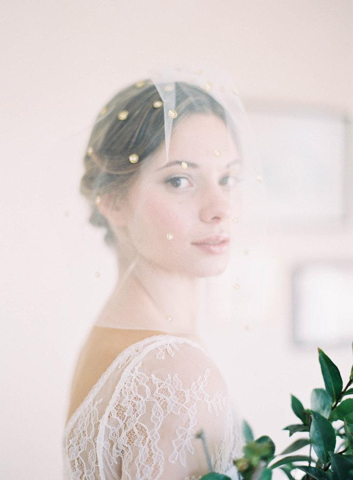 """Wedding - Romantic soft blusher veil with scattered detailing and pearls """"Campbell"""""""