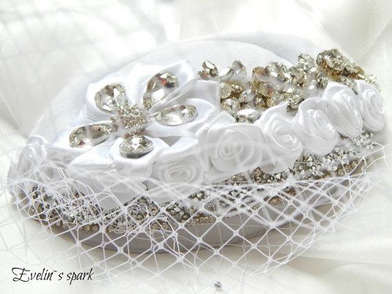 Wedding - White wedding hat, White hat with rhinestones, French net fascinator, Rhinestones fascinator