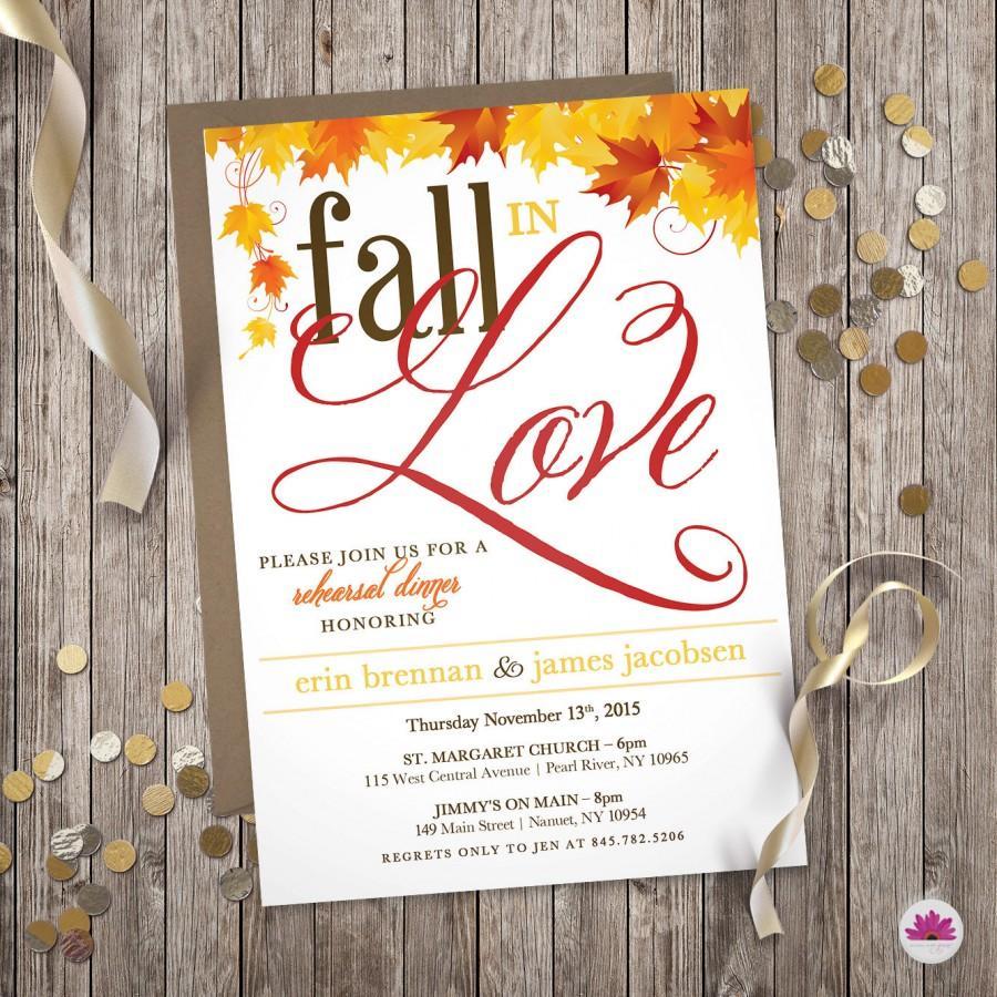 زفاف - Fall in Love – Fall Rehearsal Dinner Invitation (Digital file)