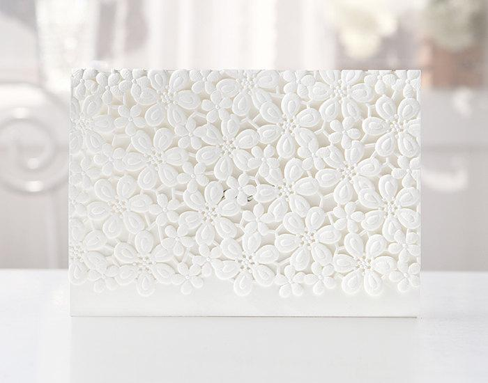 زفاف - Custom Laser Cut Laced Floral White Wedding Invitations - BH4119 - Free Envelopes & Silver Seals - Free Shipping Promotion