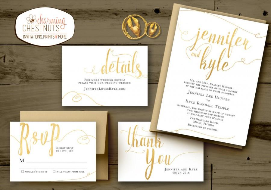 WHITE And GOLD Wedding Invitations Set, Classic Gold, Printable ...