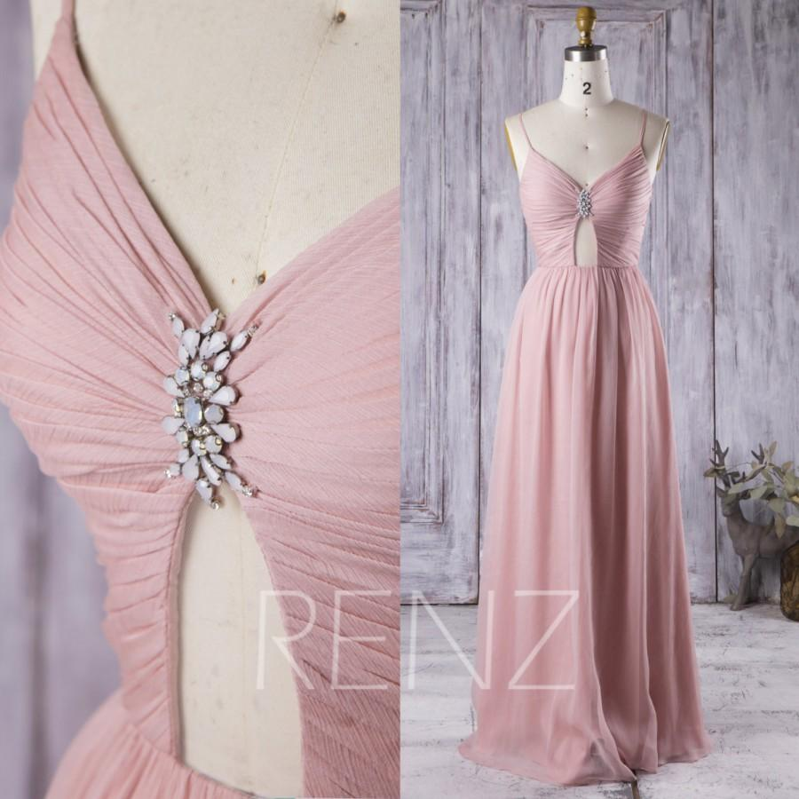 Wedding - 2016 Dusty Thistle Bridesmaid Dress, V Neck Hollow Wedding Dress, Spaghetti Straps Prom Dress, Long Chiffon Formal Dress Floor Length (H256)