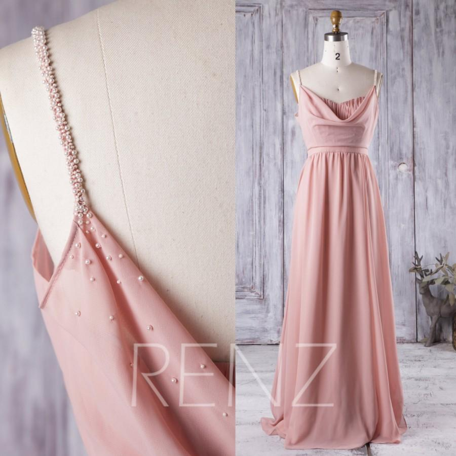 Hochzeit - 2016 Blush Bridesmaid Dress with Beading, Long Chiffon Wedding Dress with Draped, Women Formal Dress, Evening Dress Floor Length (H247)