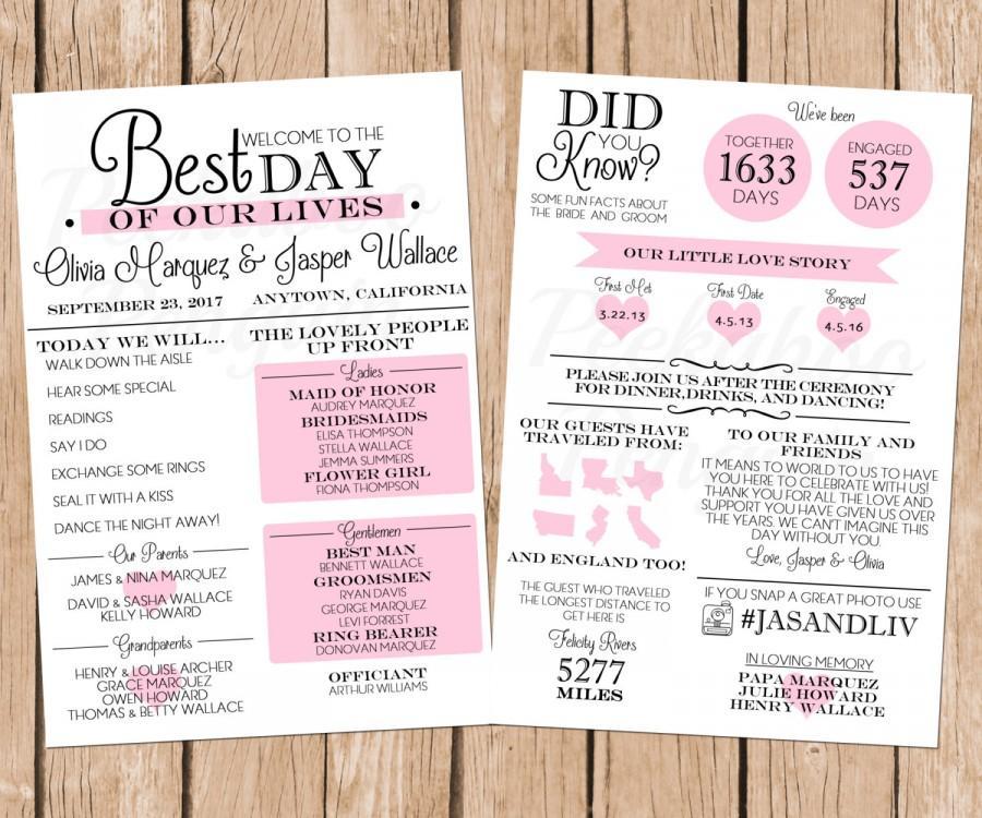 زفاف - Infographic Wedding Program, Fun Wedding Program, Printable Wedding Program, Unique Program, Modern Program, Digital Download