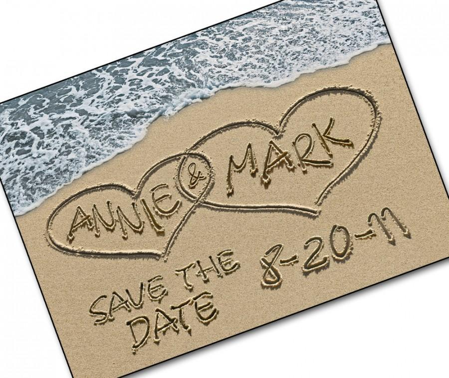 Save The Date Cards Personalized Names And Casual Wedding Invite Beach Destination Photo Sand Hearts