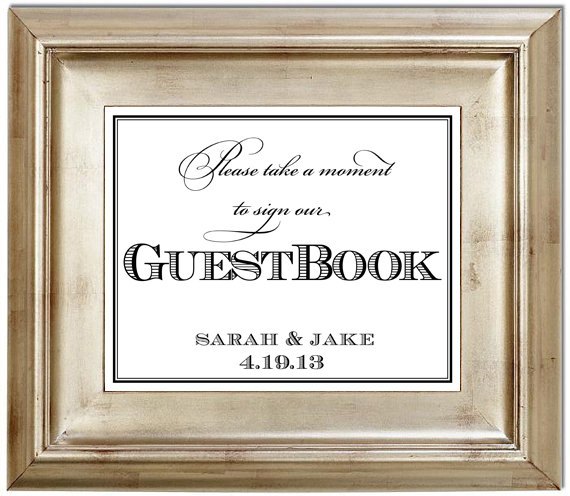 Mariage - Please Sign Our GuestBook 8x10 Guest Book Wedding Sign Customized Personalized Typography Art Print