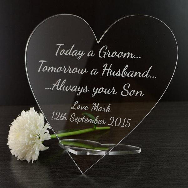 Mariage - Personalised Mother of the Groom Wedding Heart Plaque Gift from Son