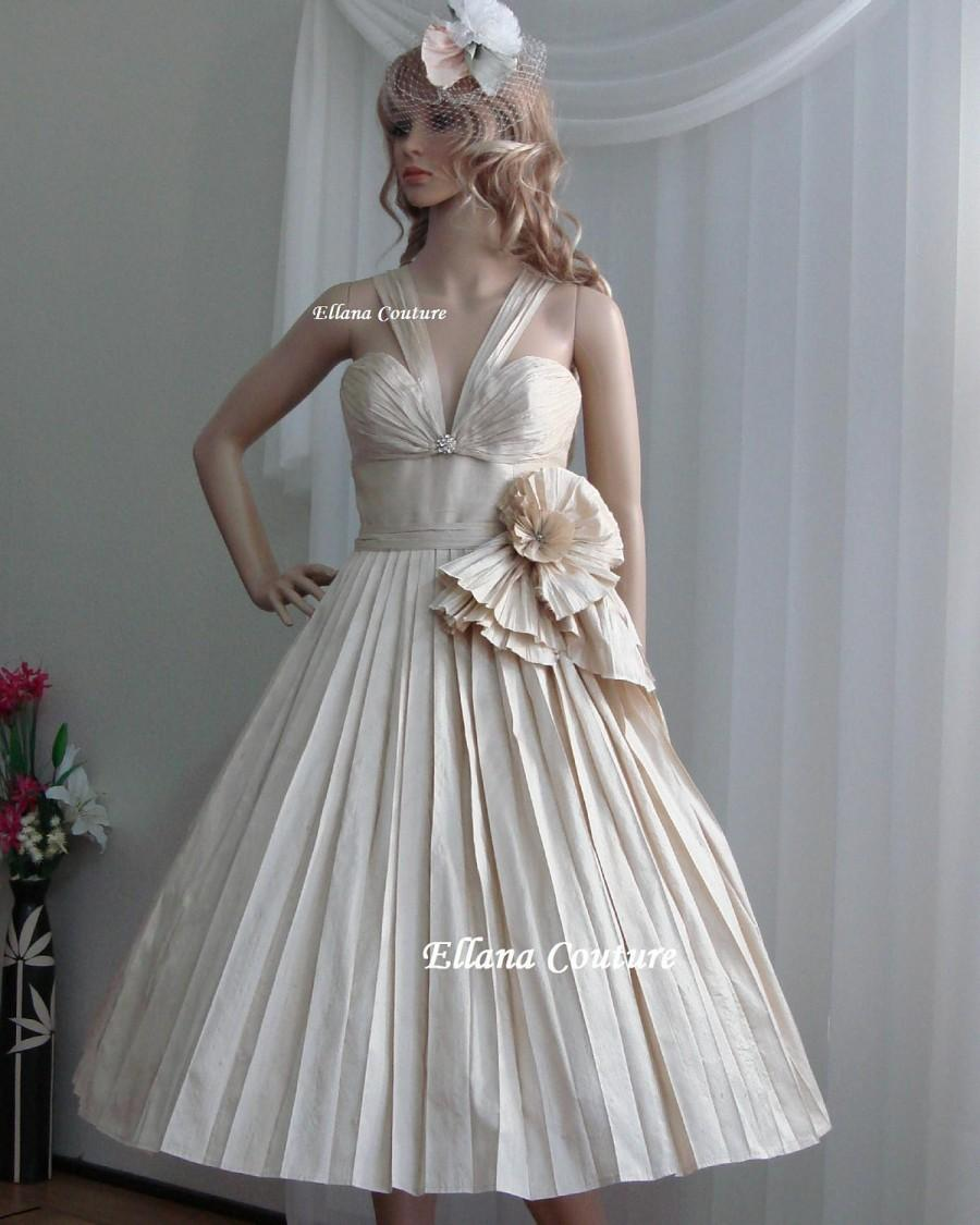 Sample sale retro style dupioni silk wedding dress for Retro tea length wedding dress