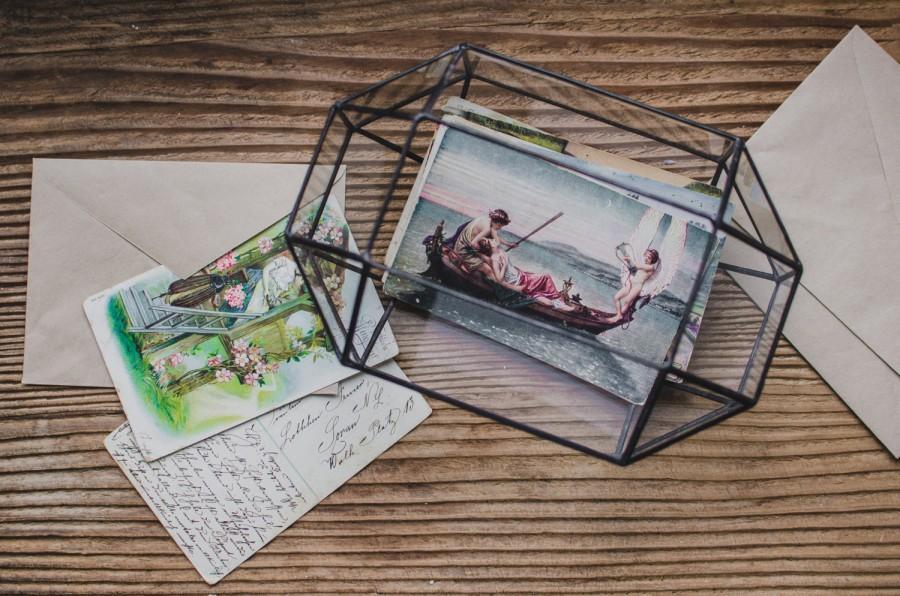 Wedding Card Holder Glass Box Terrarium For Cards Geometric Mail