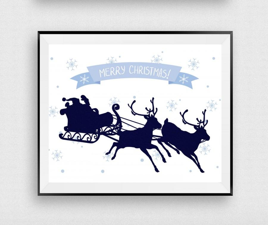 merry christmas printable santa claus print christmas sign christmas poster deer holiday gift christmas decor instantdownloadart1