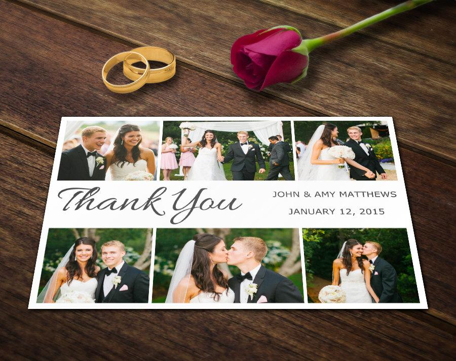 Wedding - Wedding Thank You Card Template - Photoshop Templates - Photography Postcard PSD - Printable Photo Personalized & Custom WT013