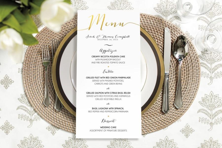 زفاف - Printable - Calligraphy Menu gold, simple, classy