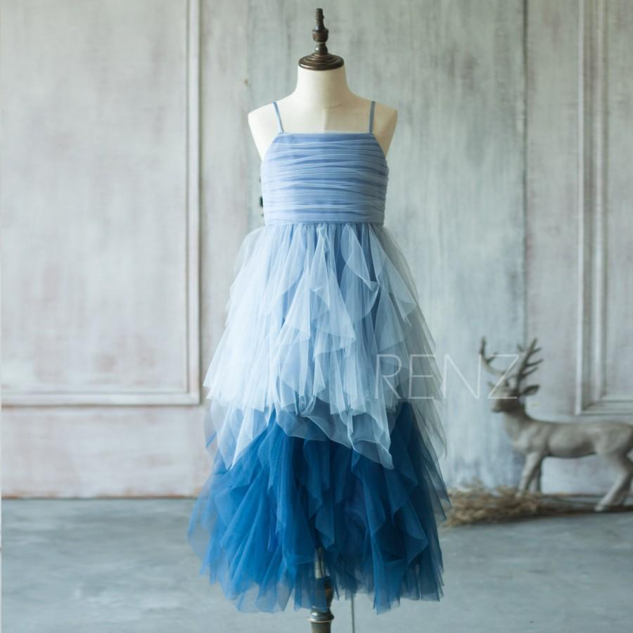زفاف - 2016 Blue Junior Bridesmaid Dress, Spaghetti Strap Ruffle Flower Girl Dress, Puffy dress (JK013)