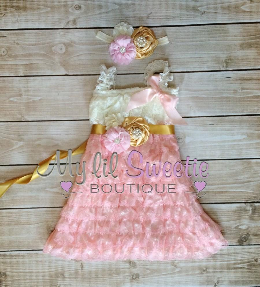 Wedding - Ivory, light pink, gold 3 piece set, dress, sash, headband, baby girl outfit, special occasion dress, toddler dress, girls dress,
