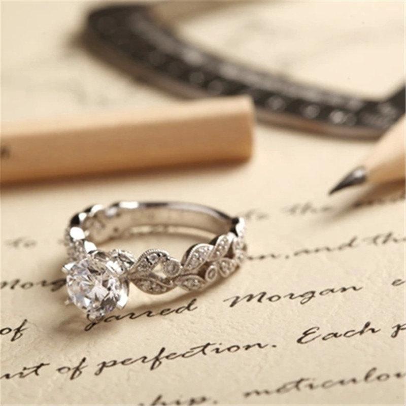 زفاف - Baroque Styled Engagement Ring Cz Ring Cubic Zirconia Ring Sterling Silver Ring Promise Ring