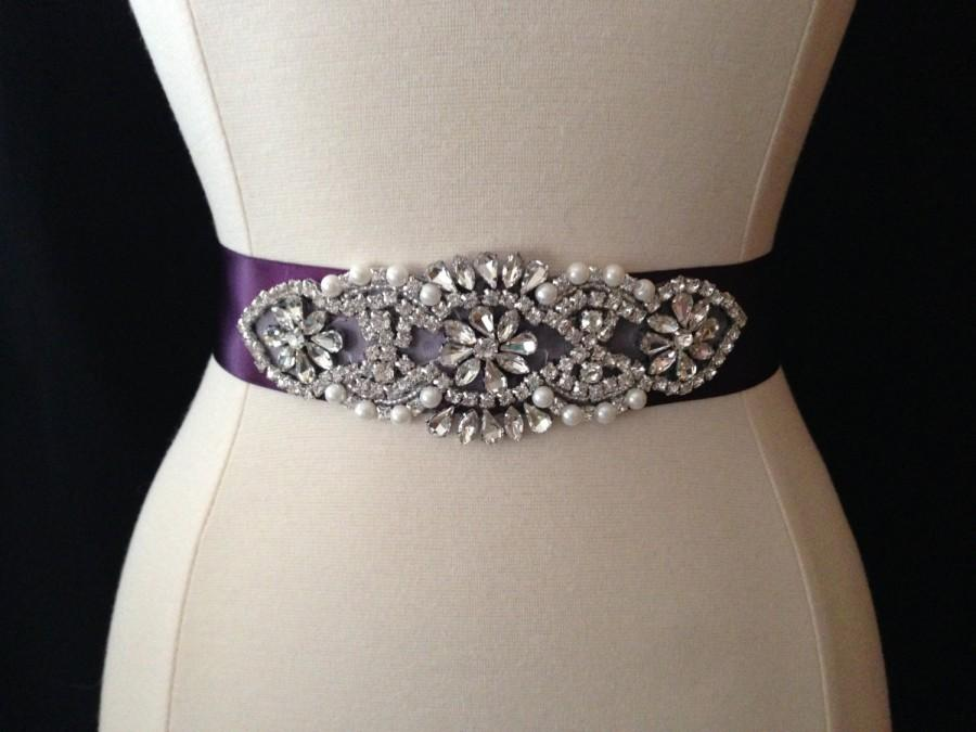Hochzeit - Bridal Sash - Wedding Dress Sash Belt - Eggplant Purple Rhinestone and Pearl Wedding Sash - Purple Rhinestone Bridal Sash