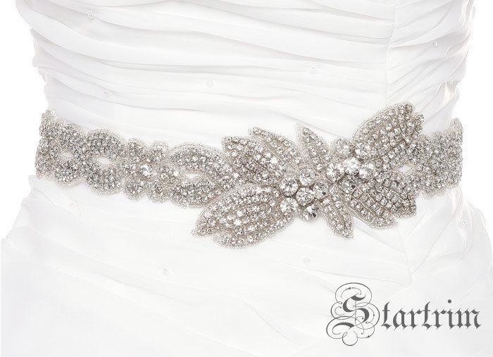 Hochzeit - SALE JOYANN Crystal wedding bridal beaded sash , belt
