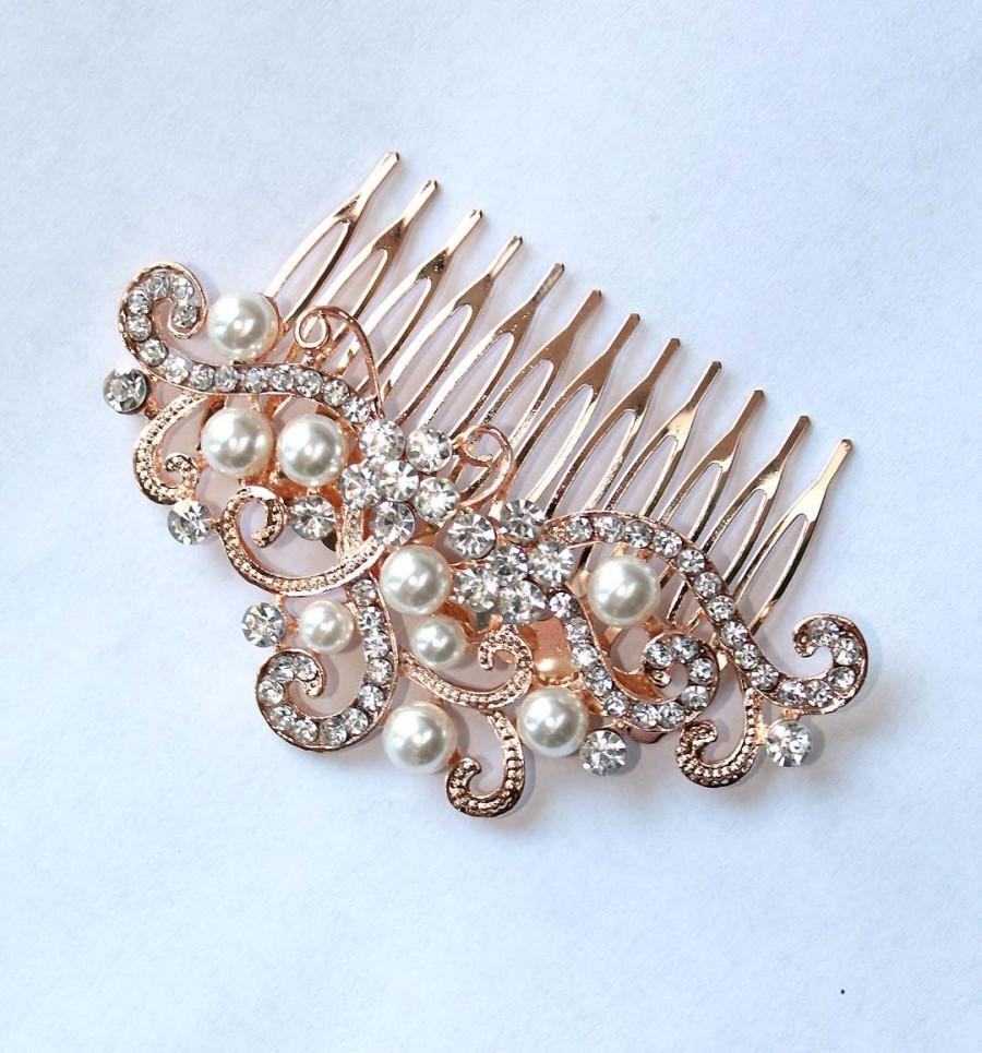 Hochzeit - Rose Gold Hair Accessory, Light Rose Gold Bridal Hair Pin, Rose Gold Combs, Rhinestone Pearl Rose Gold Hair Comb, Rose Gold Hair Jewelry