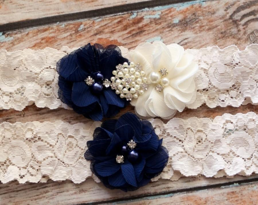 Hochzeit - Your  Color, Navy Blue Garter Set , Wedding Garter , Ivory and Navy Blue Garter , Garter , Garter Set , Bridal Garter
