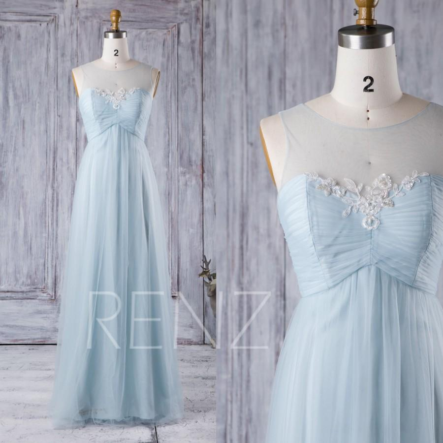 2016 light blue bridesmaid dress empire waist wedding for Light blue lace wedding dress