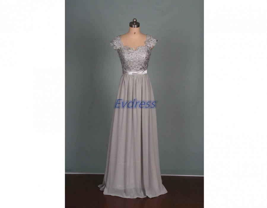 Mariage - 2016 long gray chiffon lace bridesmaid dress hot,elegant women gowns for wedding party party,cheap floor length prom dresses in stock.