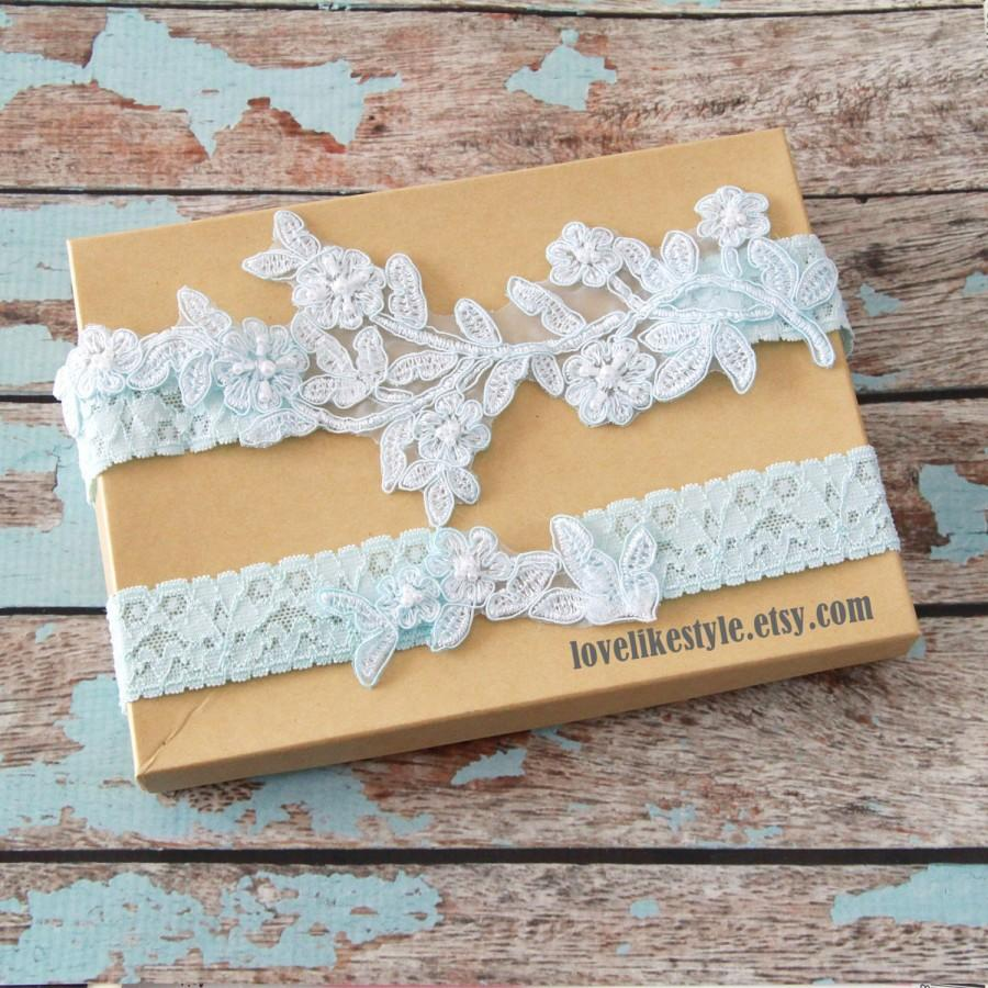 7600fe9bb Light Blue Pearl Beaded Lace Wedding Garter Set