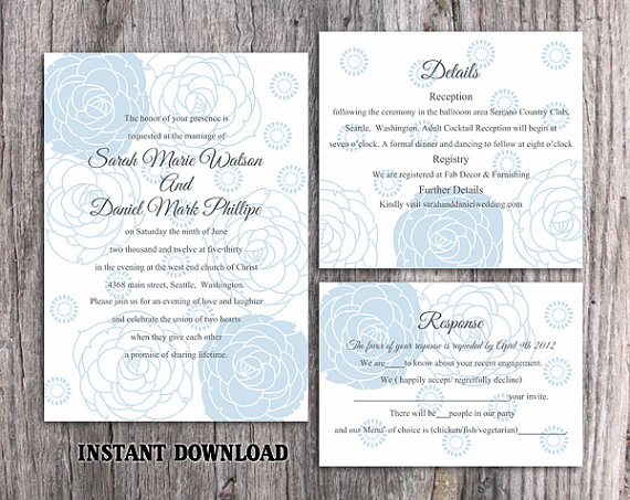Hochzeit - DIY Wedding Invitation Template Set Editable Word File Instant Download Printable Invitation Rose Wedding Invitation Blue Invitations