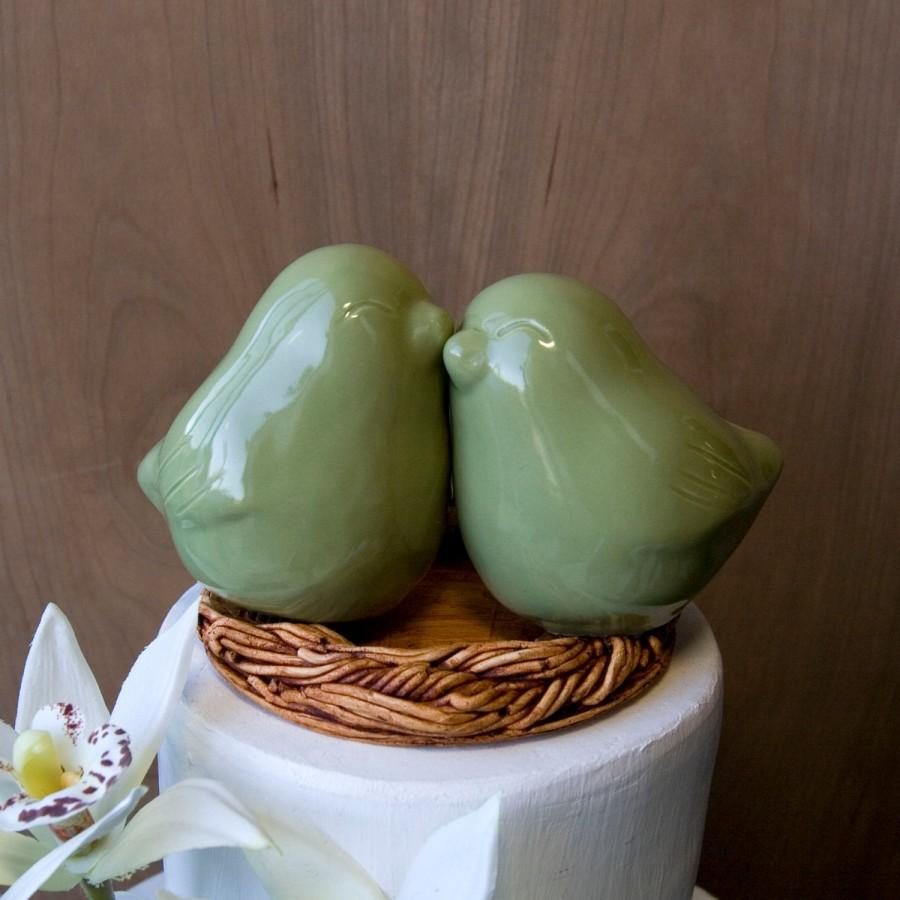 Mariage - Sage Green Love BIrd Cake Topper