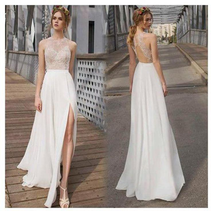 Beautiful white side split prom dress open back charming for White wedding dress cheap