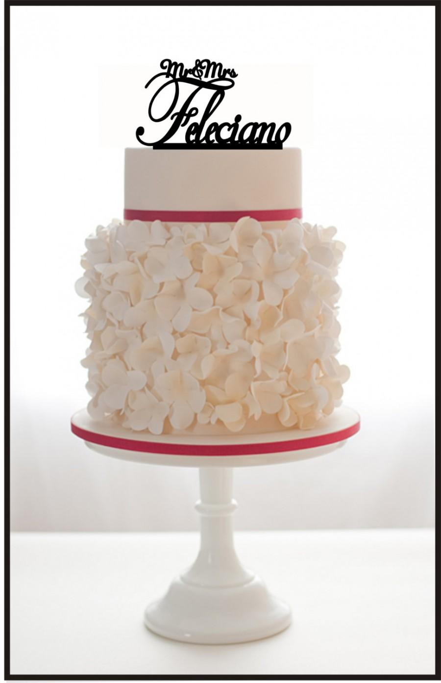Wedding - Custom Wedding Cake Topper Mr and Mrs with your LAST NAME, choice of color and a FREE base for display