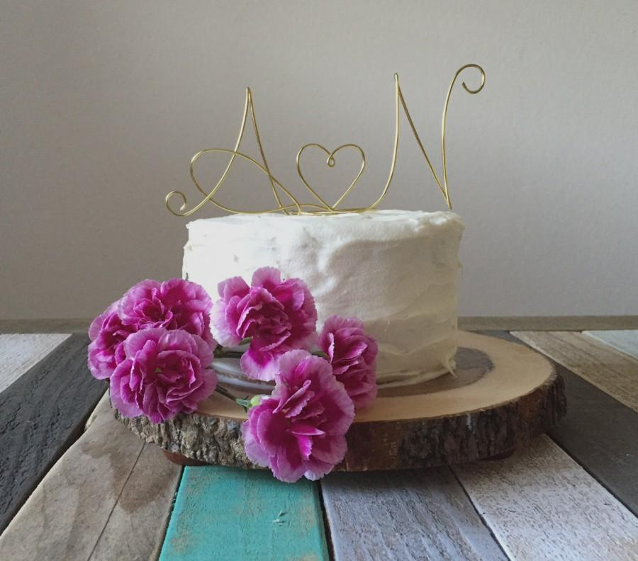 Hochzeit - Elegant Initials and Heart Cake Topper