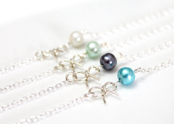 The Knot Wedding Gifts: Sterling Silver Pearl Bow Bracelet, Bridesmaid Jewelry